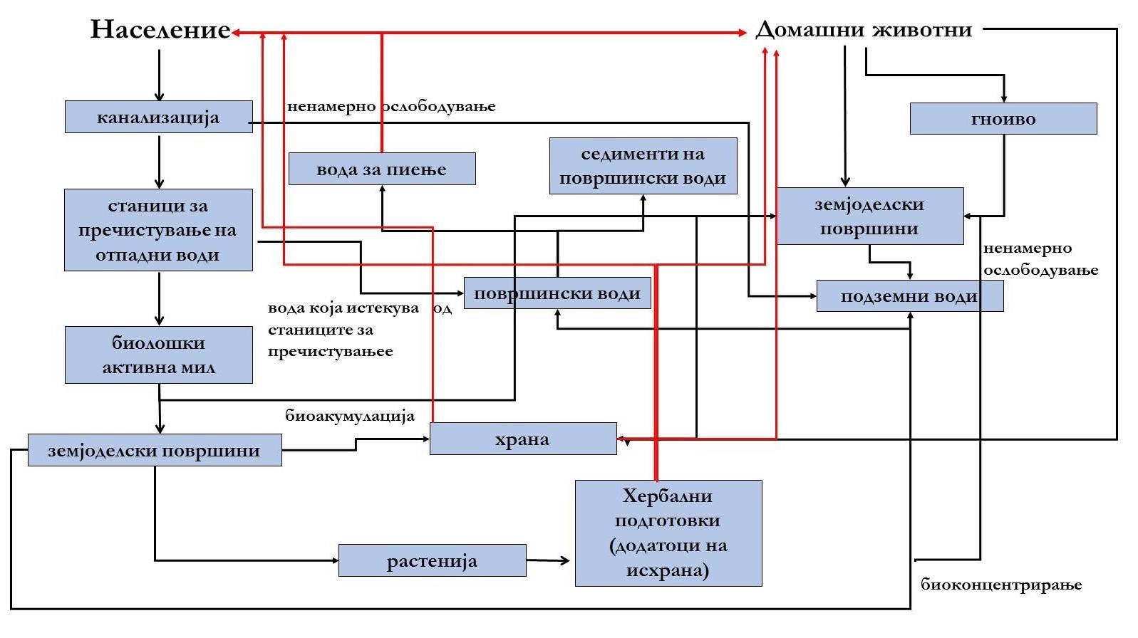 Слика 2. Извори и начини на дистрибуција на органски загадувачи во водите и храната.